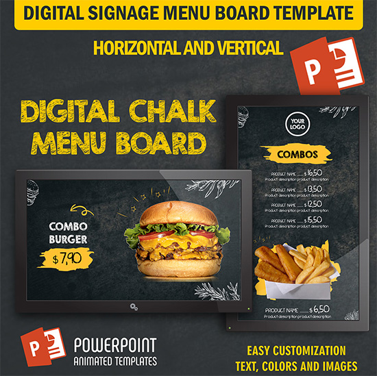Powerpoint Video Ads Create Video Ads And Digital Menu Boards With Powerpoint Animated Templates